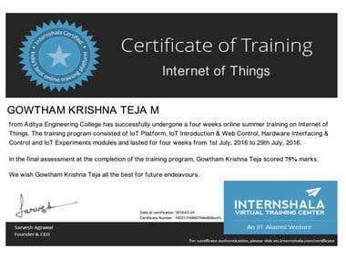 IoT certification from Internshala