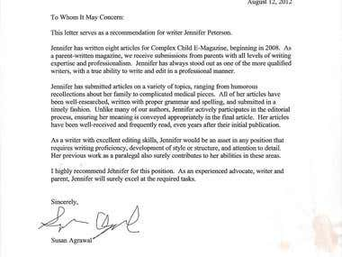Letter of Reference from Complex Child Magazine