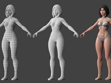 Male and female low poly