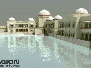 3D modeling and rendering of Hauz Khas Complex