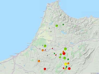 Geolocated chart Map in Morocco