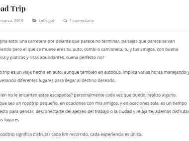 Road trip (escritos en español)