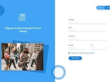 Upcoming Travel App - Login Screen