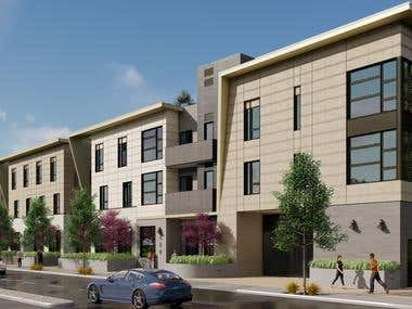 Renders of a mixed use development being constructed in City