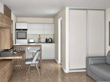 Visualization of a studio apartment for renatoapp