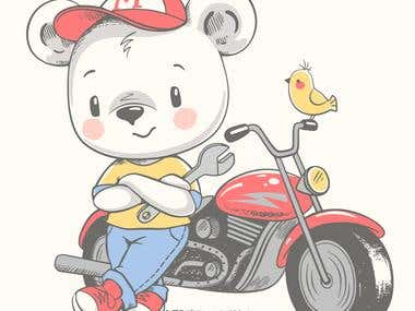 Cute bear near the motorcycle cartoon hand drawn vector illu