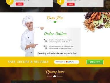 Landing page of restaurant Website