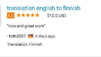 English to Finnish