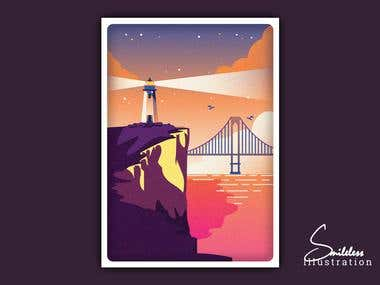 Retro Style - Lighthouse On Cliff