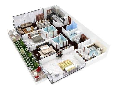3bhk house modle