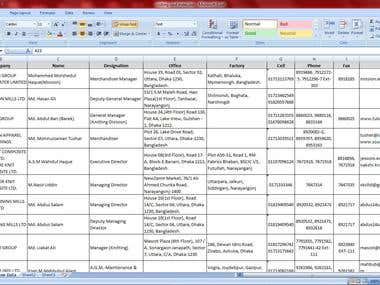 Data Entry & Excel workout.