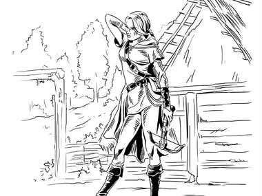Female warrior in a village