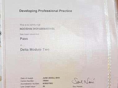 DELTA certificate