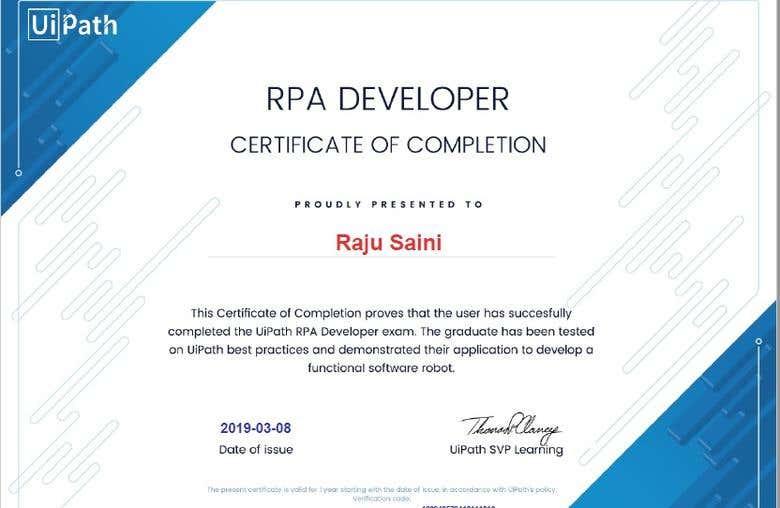 UiPath RPA Developer Advance Certification   Freelancer