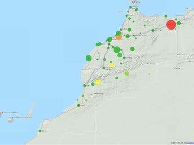 Geolocated Map on REAL sample data of Morocco (January 2007)