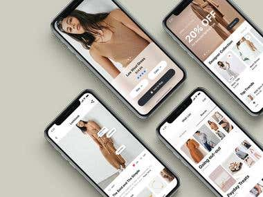 Fashion E commerce store mobile application UI design