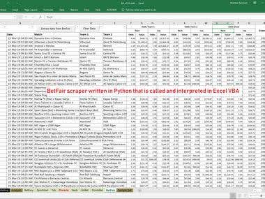 BetFair API (in Python) built into Excel