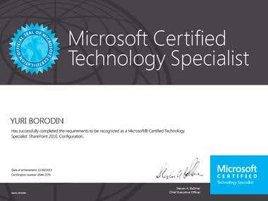 Certificate MCTS SharePoint 2010, Configuration