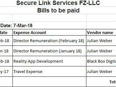Bills to be paid