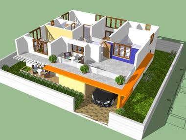 Create a 3D model of floor plan CAD / Skechup