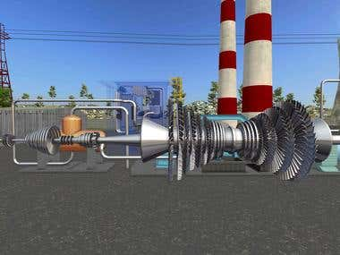 Thermal power plant machine, 3D Modeling, Texturing.