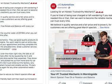 JC Automotive Facebook Ad Campaign