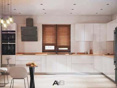 Minimalist Kitchen Interior Design by AYB Team