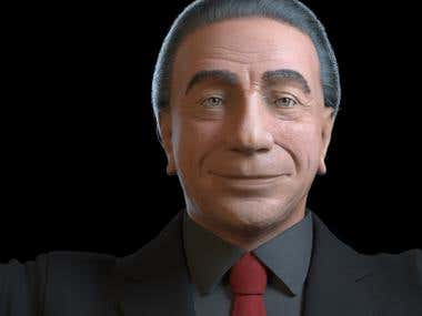 Realistic 3d bust model for animation