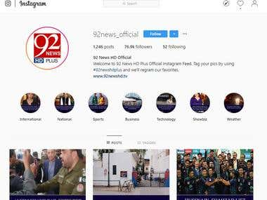 92 News HD Plus Instagram Account