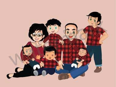 Family cartoon style ...