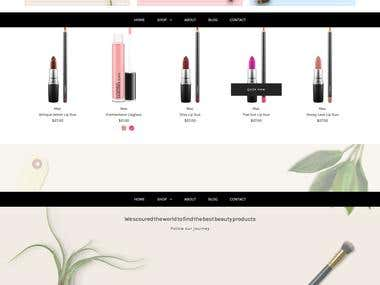 A Responsive Shopify built Site featuring Cosmetics.