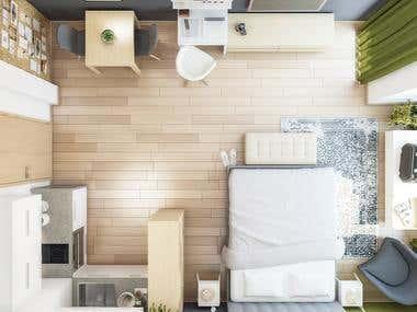 Interior Design Project - AirBnB Studio Apartment