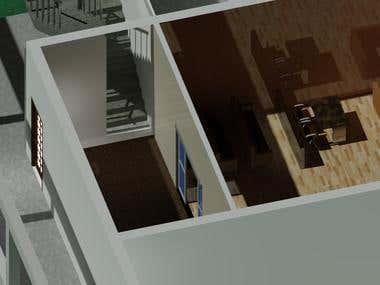 3D double story building
