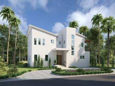 3d exterior rendering of house