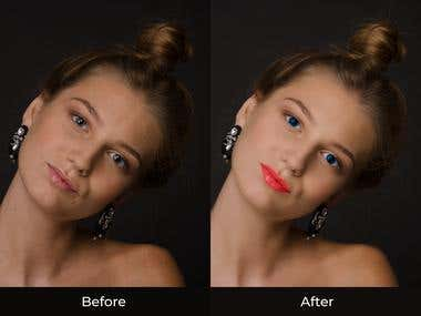 Retouching on Female Face