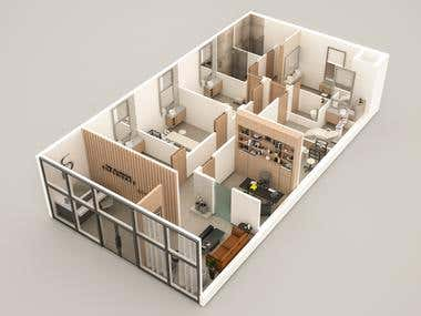 """ 3D floor plan for StudioLykos"""