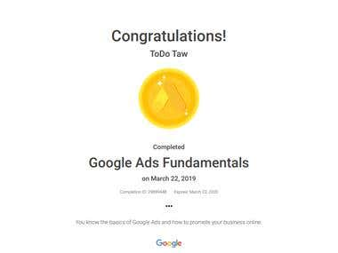 The Google Ads Fundamentals Certification.