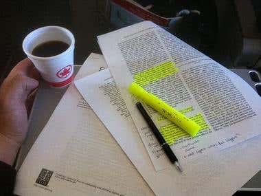 Academic proofreading/editing/formatting