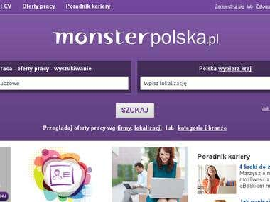 Monster Polska website translation