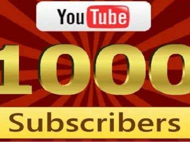 Give 1000 YouTube Subscribers Via High Quality Active User