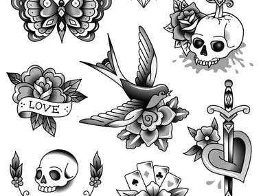 Hand drawn tattoo designs