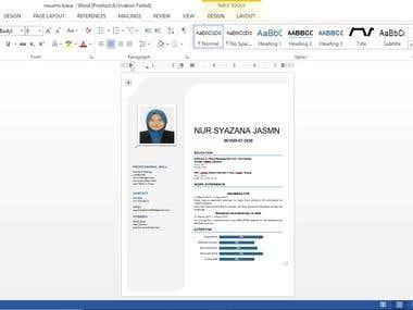 Resume (using Ms word)