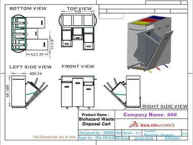 Bio-hazard Waste Disposal Cart