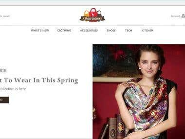online shop website - mockup - adobeXD