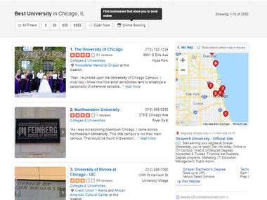 Collect Universities Information from Yelp.com