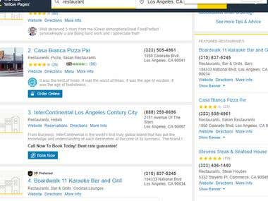Collected Restaurants information from yellow-page.