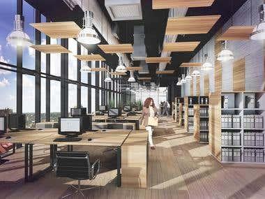 interior office visualization
