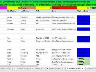 Data Entry email collect contact list building