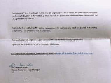 Customer Service Certificate of Employment