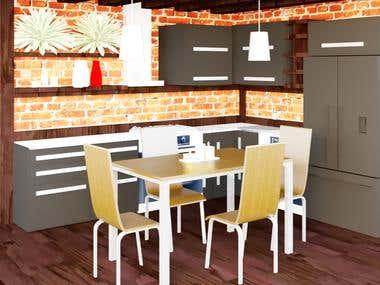 Modern kitchen design, with elements of loft style